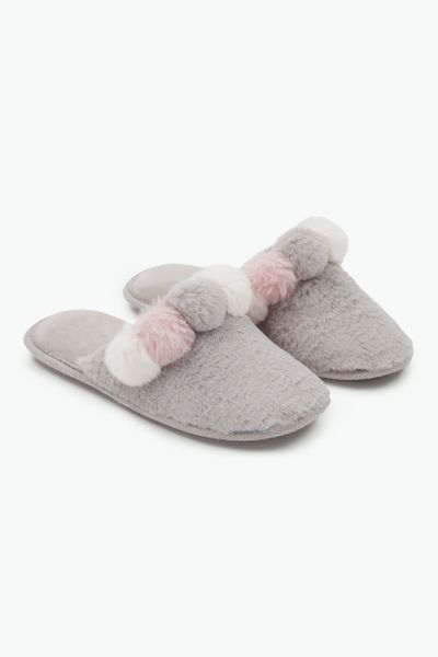 Grey Pom Slipper