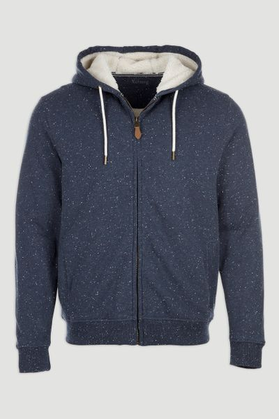 Navy Speckled Borg Lined Hoodie