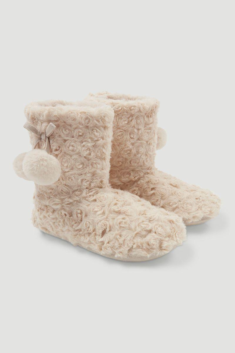 Rose Fur Slipper Boots