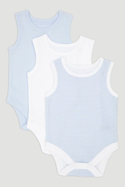 3 Pack Blue Vest Bodysuits