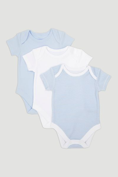 3 Pack Blue Short Sleeve Bodysuits
