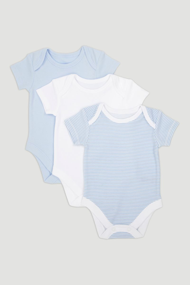 3 Pack Blue Short Sleeve Bodysuits