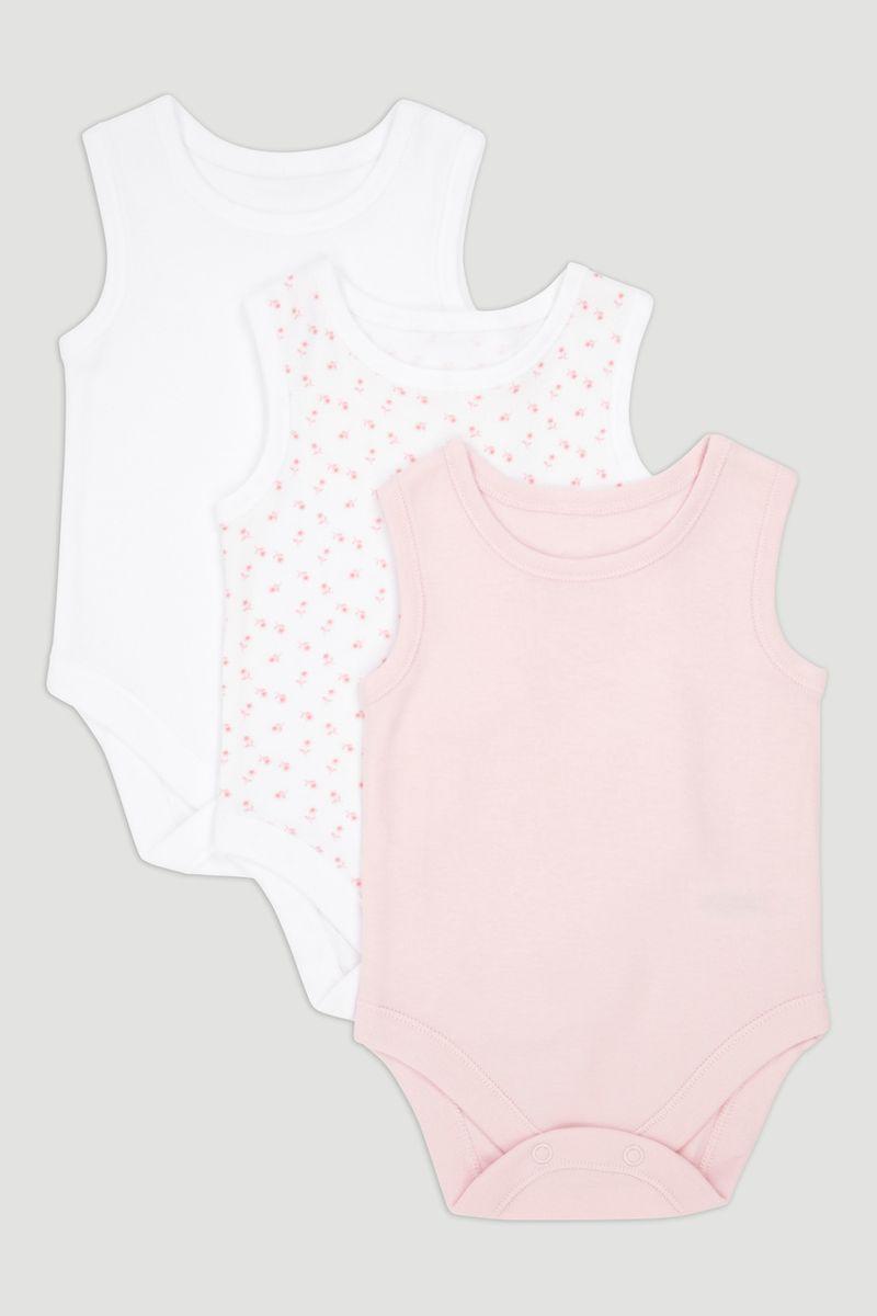 3 Pack Pink Vest Bodysuits
