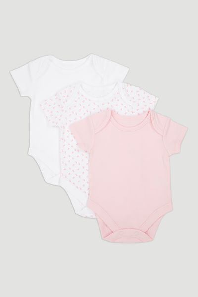3 Pack Pink Short Sleeve Bodysuits
