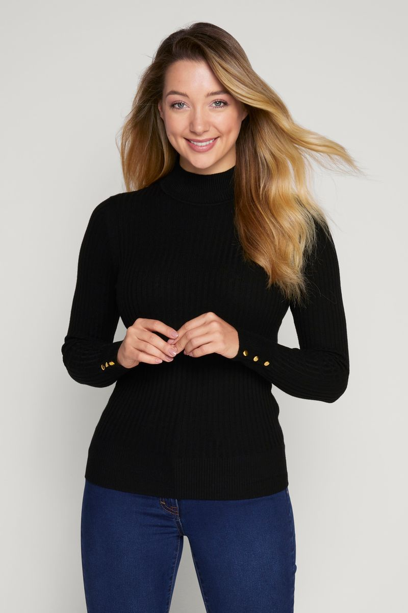 Ribbed Black Roll Neck Top