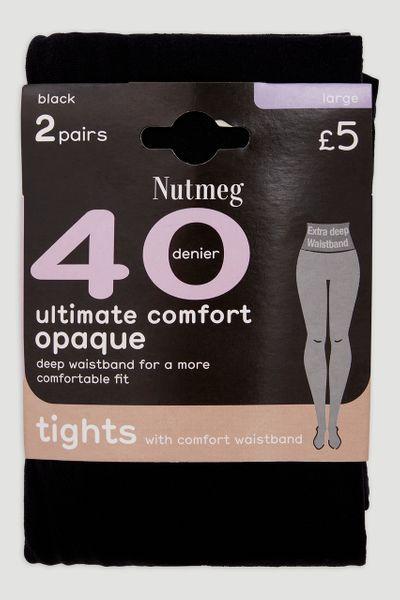 40 Denier Black Comfort Waistband Tights