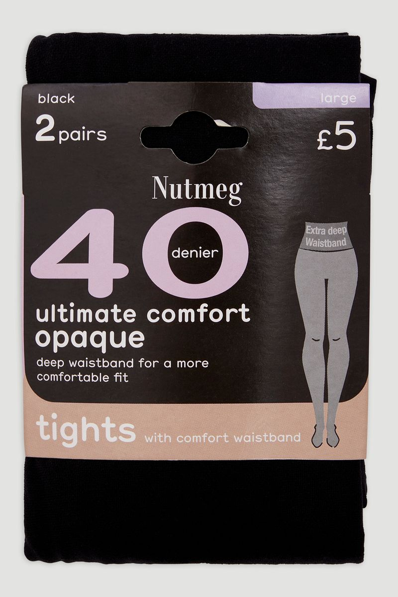 Black 40 Denier Comfort Waist Tights