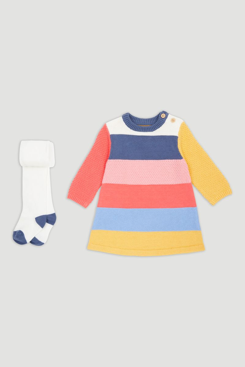 Knitted Stripe Dress with Tights
