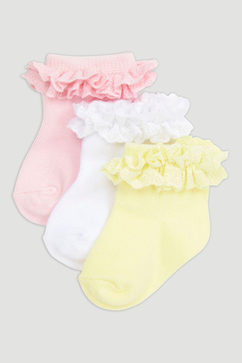 3 Pack Frilly Broderie Socks