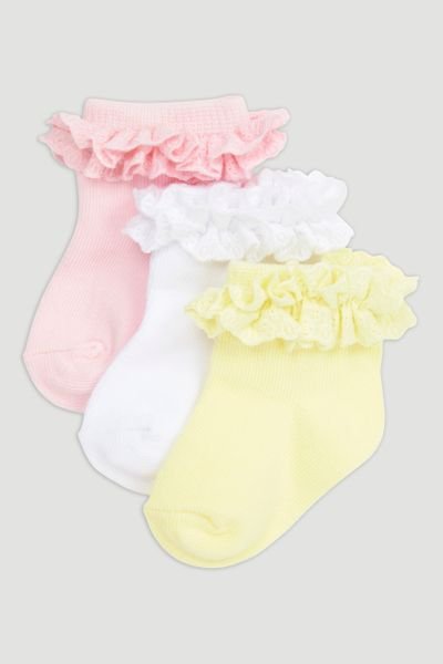 3 Pack Frilly Broderie Socks