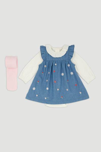 Denim Pinafore Dress & Tights
