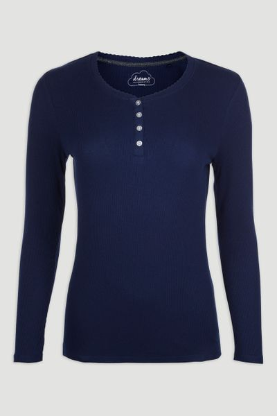 Navy Ribbed Long Sleeve T-shirt
