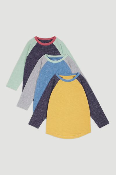 3 Pack Long Sleeve Raglan T-Shirts 1-14yrs