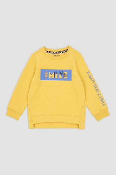 Yellow Slogan Sweatshirt