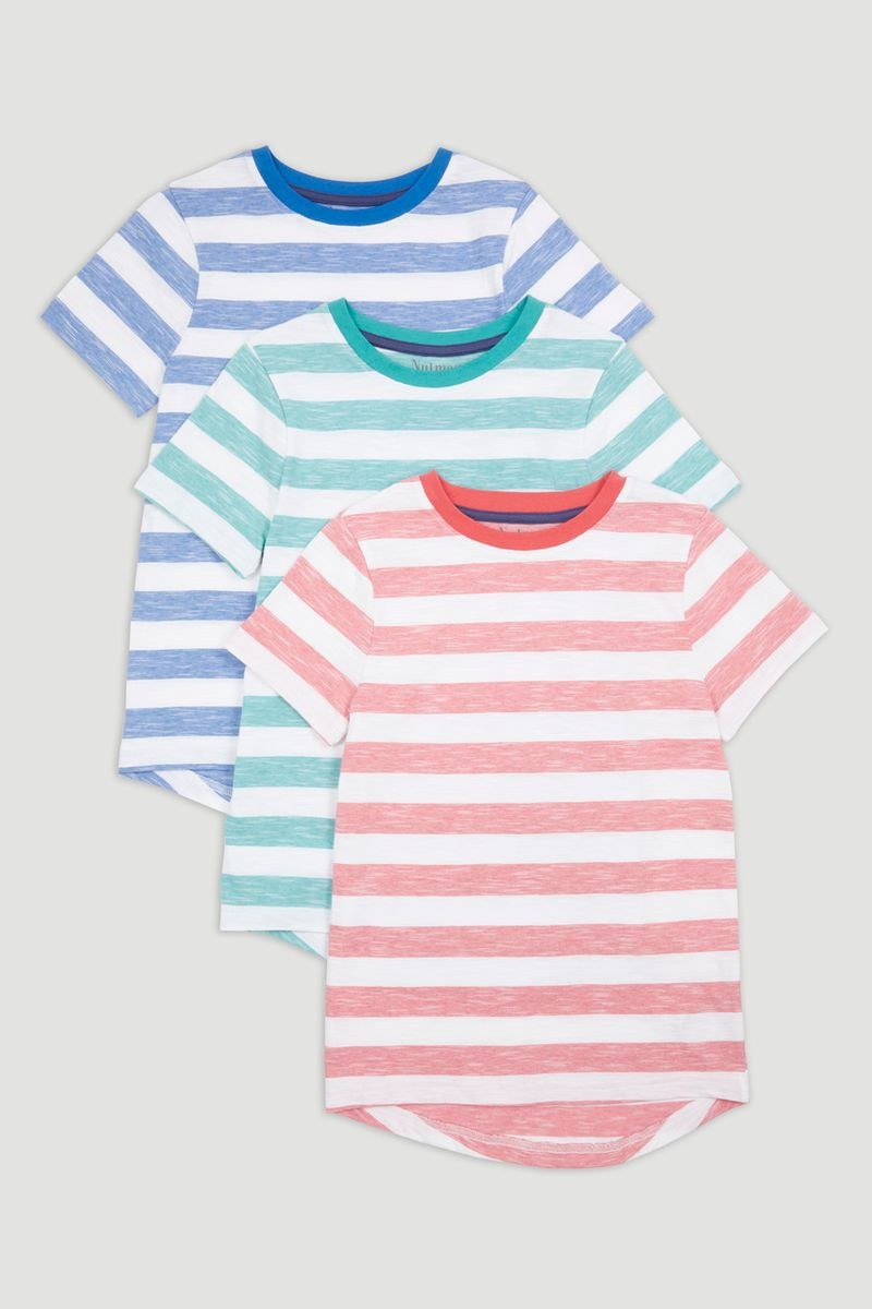 3 Pack Block Stripe T-shirts 1-14yrs