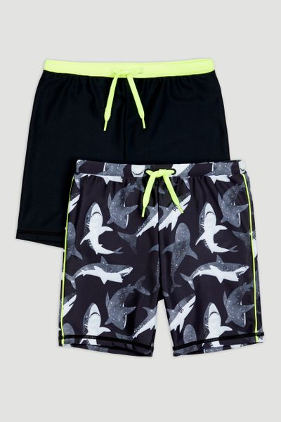 2 Pack Shark Swim Trunks 1-14yrs