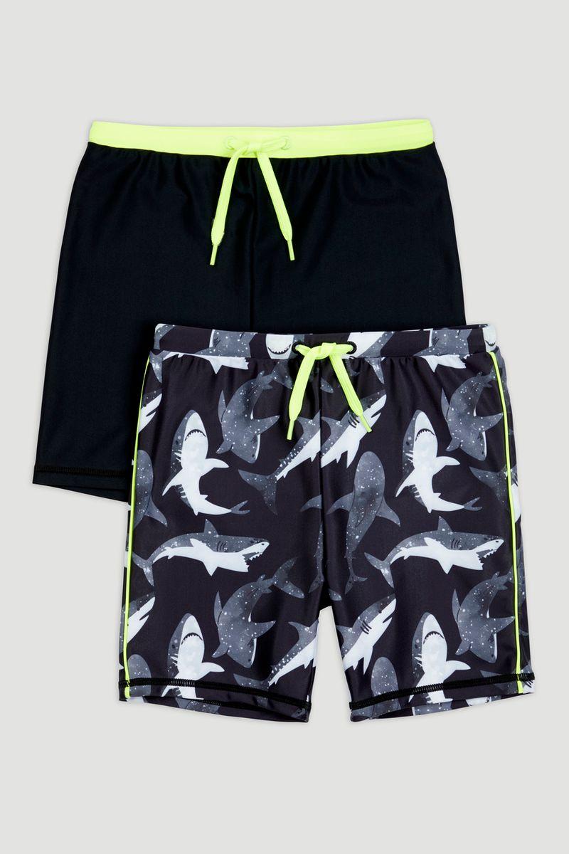 2 Pack Shark Swim Trunks 1-14yrs