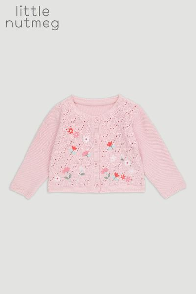 Little Nutmeg Pink Flower Cardigan