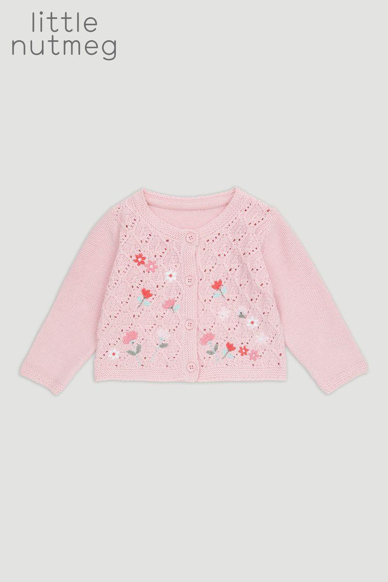 Little Nutmeg Pink Flower Cardigan