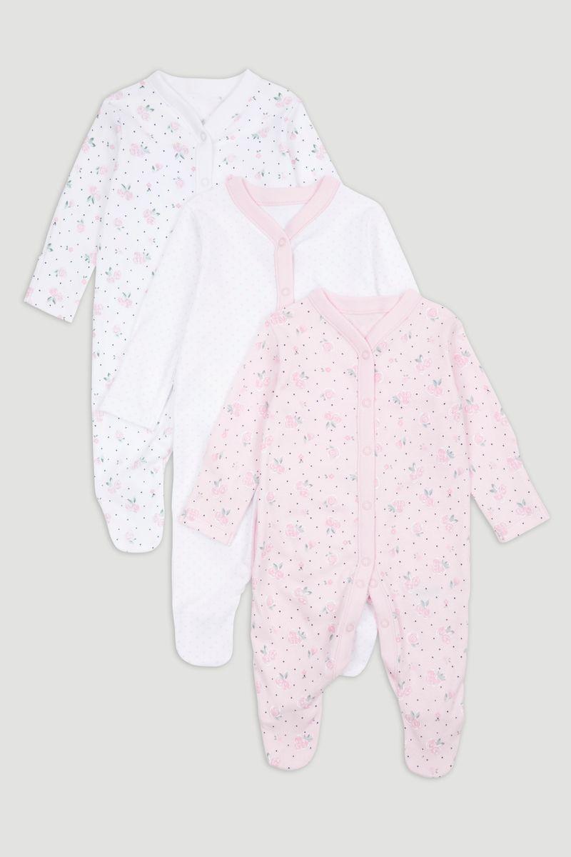 3 Pack Pink Sleepsuits