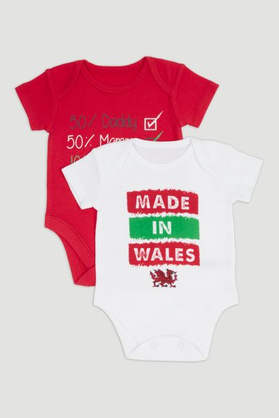 2 Pack Wales Short Sleeve Bodysuits