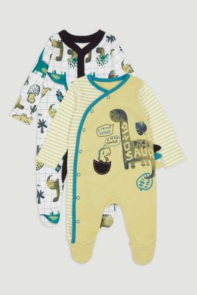 2 Pack Green Dinosaur Sleepsuits