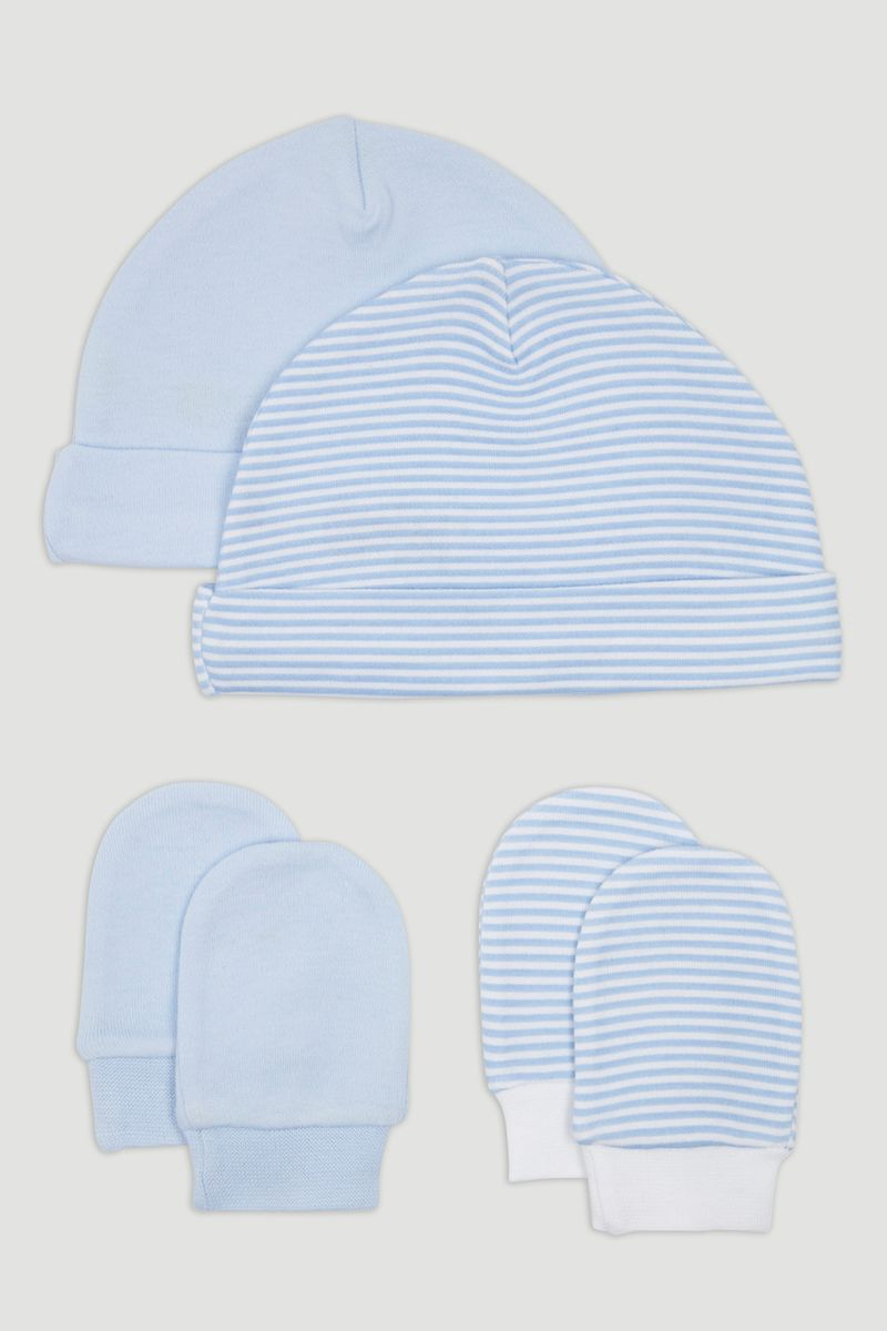 2 Pack Blue Hats & Scratch Mitts