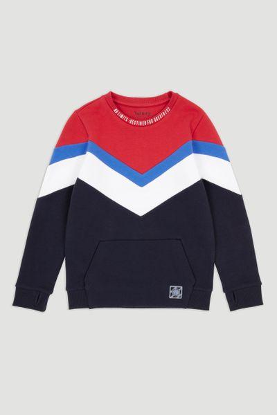 Navy & Red Colour Block Sweatshirt