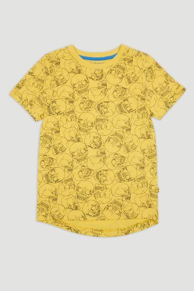 Yellow Skull Print T-shirt