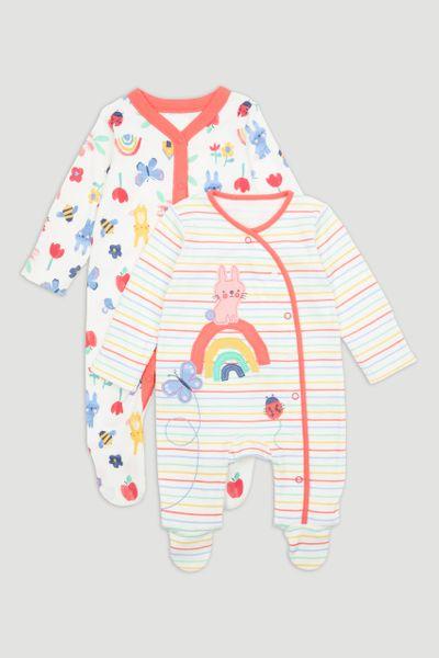 2 Pack Rainbow Bunny Sleepsuits