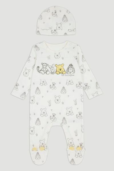 Disney Winnie The Pooh White Sleepsuit & Hat