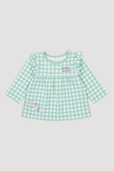 Green Gingham Long Sleeve T-shirt
