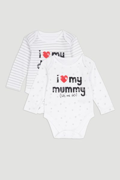 2 Pack White Mummy & Daddy Bodysuits
