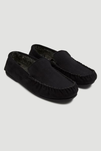 Black Fur Lined Moccasin Slippers