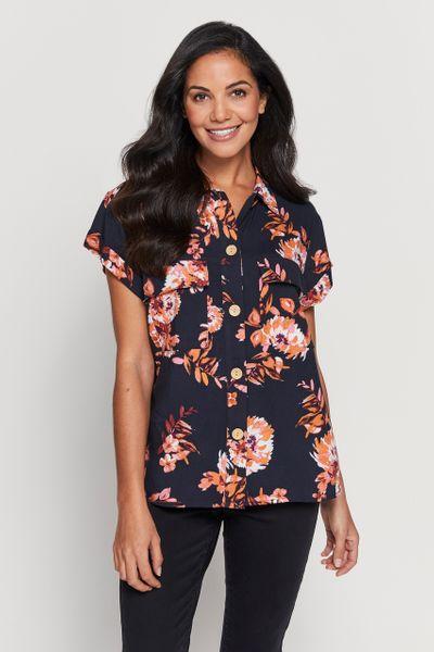 Floral Print Trucker Shirt