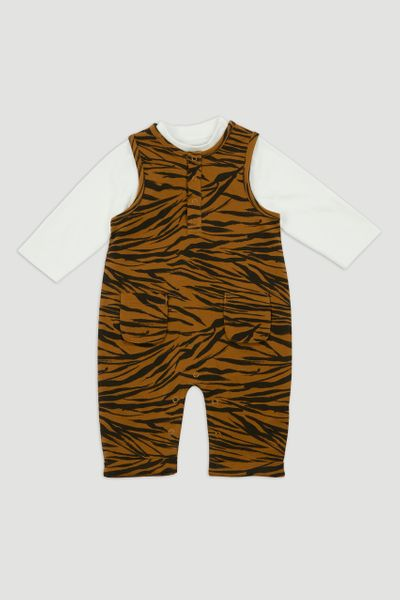 Zebra Jersey Dungaree Set