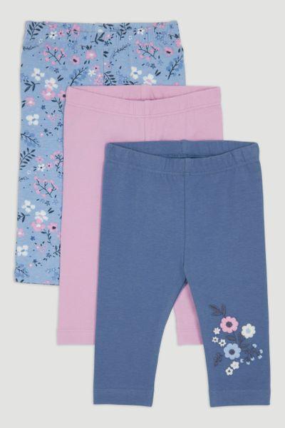 3 Pack Purple Floral Leggings