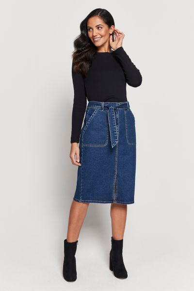 Denim Split Midi Skirt