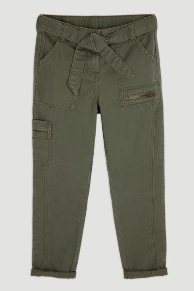 Khaki Cargo Tapered Trousers