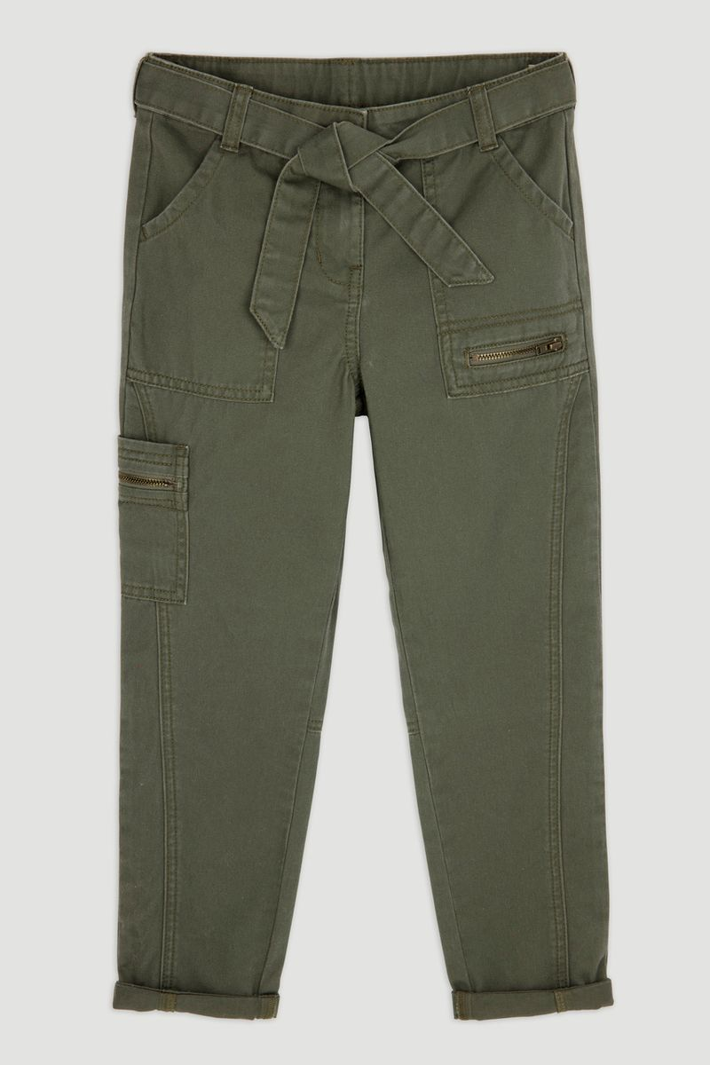 Khaki Cargo Tapered Trousers