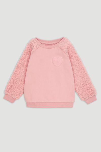 Pink Textured Heart Sweatshirt