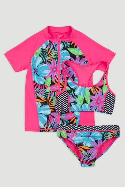 3 Piece Tropical Flower Swim Set