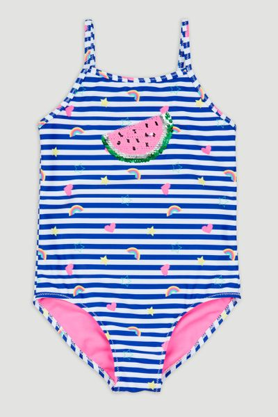 Stripe Sequin Badge Swimsuit