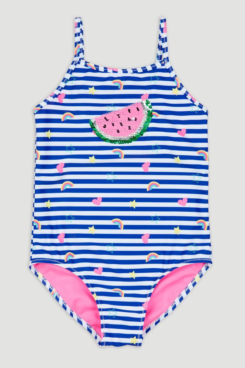 Stripe Sequin Badge Swimsuit