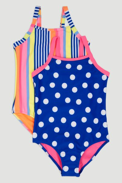 2 Pack Stripe & Spot Swimsuits