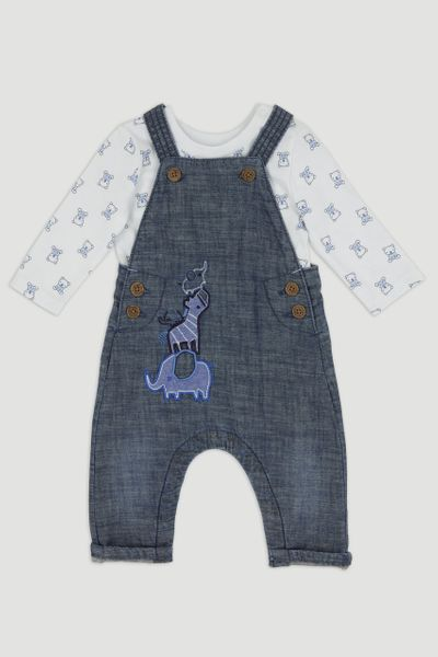 Denim Dungaree & Long Sleeve T-Shirt