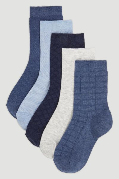5 Pack Blue & White Socks