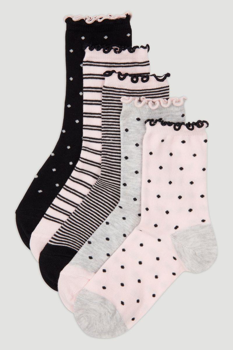 5 Pack Polka-dot Ruffle Socks