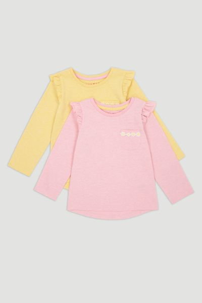 2 Pack Pink & Lemon Long Sleeve T-Shirts