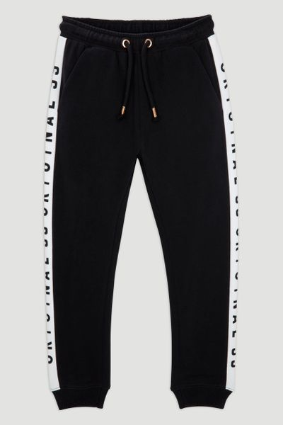 Black Slogan Tape Joggers